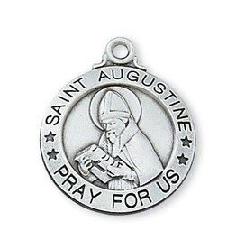 """McVan Sterling Silver St. Augustine Medal 20"""" Chain"""