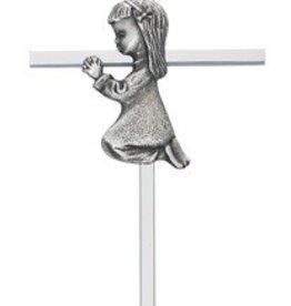 "Silver Kneeling Girl Cross 6"""