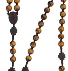 Sine Cerra Tiger Eye and Jujube Wood Rosary