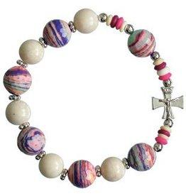 Sine Cera Pink Multicolor Rosary Bracelet