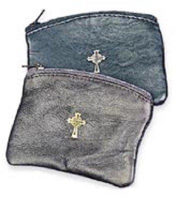 Black Sheepskin Rosary Case