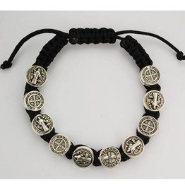 McVan Black St. Benedict Cord Bracelet Adjustable