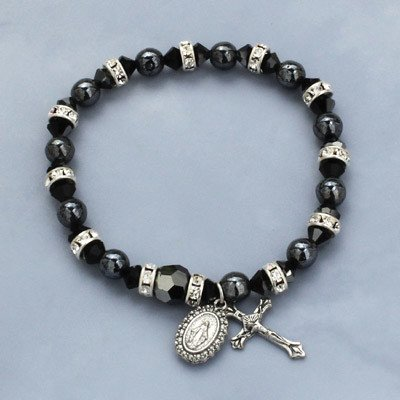 Hematite pearls and Bohemian rondelles stretch rosary bracelet