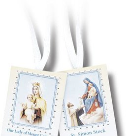 WJ Hirten Brown Scapular with White Cords