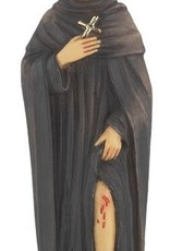 """4"""" St. Peregrine Hand Painted Solid Resin Statue with Gold Leaf Trim Accents and Italian Gold Stamped Prayer Card"""