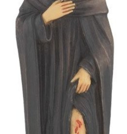 "4"" St. Peregrine Hand Painted Solid Resin Statue with Gold Leaf Trim Accents and Italian Gold Stamped Prayer Card"