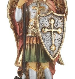 "WJ Hirten 4"" St. Michael Hand Painted Solid Resin Statue with Gold Leaf Trim Accents and Italian Gold Stamped Prayer Card"