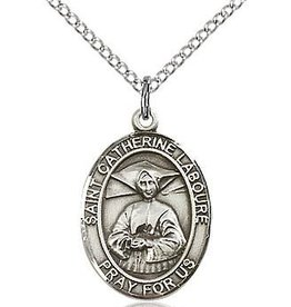 "Bliss Manufacturing Sterling Silver Catherine Laboure Medal With 18"" Chain"