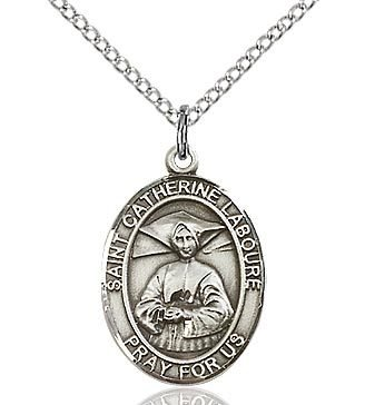 """Bliss Manufacturing Sterling Silver Catherine Laboure Medal With 18"""" Chain"""