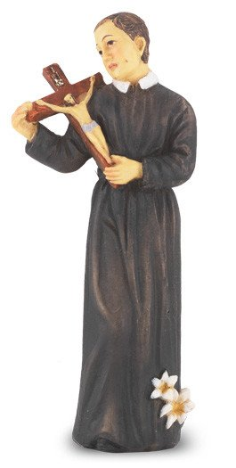 """4"""" St. Gerard Hand Painted Solid Resin Statue with Gold Leaf Trim Accents and Italian Gold Stamped Prayer Card"""