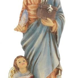 "WJ Hirten 4"" St. Matthew Hand Painted Solid Resin Statue with Gold Leaf Trim Accents and Italian Gold Stamped Prayer Card"