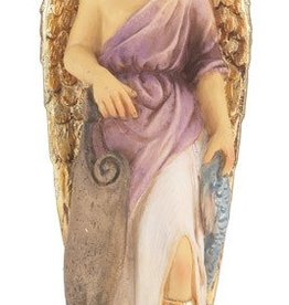 """WJ Hirten 4"""" St. Raphael Hand Painted Solid Resin Statue with Gold Leaf Trim Accents and Italian Gold Stamped Prayer Card"""