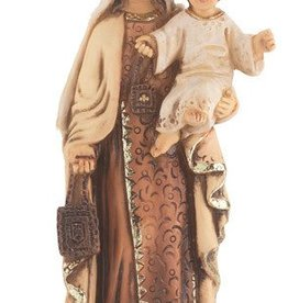 """WJ Hirten 4"""" Our Lady of Mount Carmel Hand Painted Solid Resin Statue with Gold Leaf Trim Accents and Italian Gold Stamped Prayer Card"""