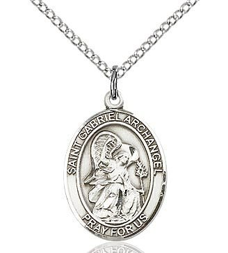 "Bliss Manufacturing Sterling Silver St. Gabriel Archangel Medal With 18"" Chain Necklace"