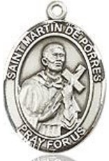 """Bliss Manufacturing Sterling Silver St. Martin of Porres Medal-Pendant With 18"""" Chain Necklace"""