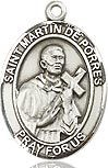 "Bliss Manufacturing Sterling Silver St. Martin of Porres Medal With 18"" Chain"