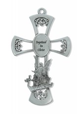 """6"""" Pewter Baptism Wall Cross"""