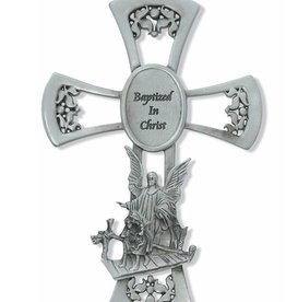 "6"" Pewter Baptism Wall Cross"