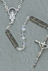 7mm crystal Aurora rosary, locklink, with inscriptions of the Mysteries of the Rosary.