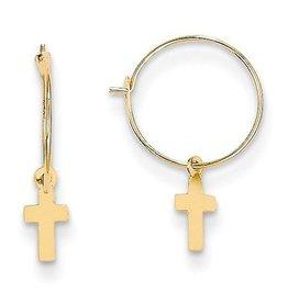 14K Endless Hoop with Small Cross Earrings