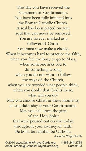 Confirmation Prayer Card
