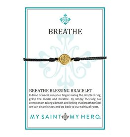 My Saint My Hero Breathe Blessing Bracelet - Gold - Black