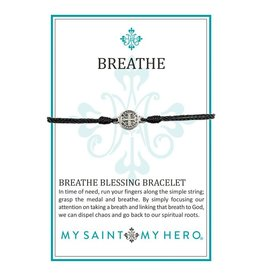 My Saint My Hero Breathe Blessing Bracelet - Silver - Black