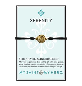 My Saint My Hero Serenity Blessing Bracelet - Gold Medal - Black