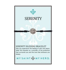 My Saint My Hero Serenity Blessing Bracelet - Silver Medal - Black