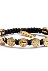 Benedictine Blessing Bracelet - Gold Medals - Black