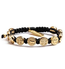 My Saint My Hero Benedictine Blessing Bracelet - Gold Medals - Black