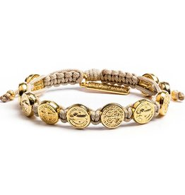 My Saint My Hero Benedictine Blessing Bracelet - Gold Medals - Tan