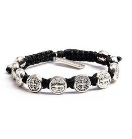 Benedictine Blessing Bracelet - Silver Medals - Black
