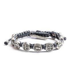 My Saint My Hero Benedictine Blessing Bracelet - Silver Medals - Slate
