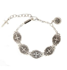 Benedictine Link Bracelet - AS - Antique Silver