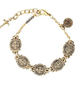 My Saint My Hero My Saint My Hero Benedictine Link Bracelet - Antiqued Gold Finish
