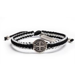 My Saint My Hero Gratitude Blessing Bracelet Black and Metallic Silver