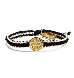 My Saint My Hero Gratitude Blessing Bracelet Gold and Black