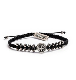 My Saint My Hero Stairway To Heaven Crystal Benedictine Bracelet Silver Medal