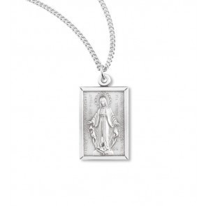 HMH Religious Sterling Silver Rectangular Miraculous Medal