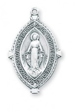 "HMH Religious Sterling Silver 1-3/8"" Double Pointed Oval Miraculous Medal"