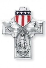 "HMH Religious Military ""Winged"" Sterling Silver Miraculous Medal"