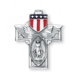 """HMH Religious Military """"Winged"""" Sterling Silver Miraculous Medal"""