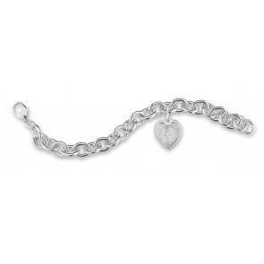 HMH Religious Extra Heavy Solid Sterling Silver Link Style Bracelet with Heart Shaped Miraculous Heart Charm