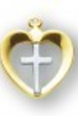 HMH Religious Tu-tone Gold Over Sterling Silver Heart with Cross