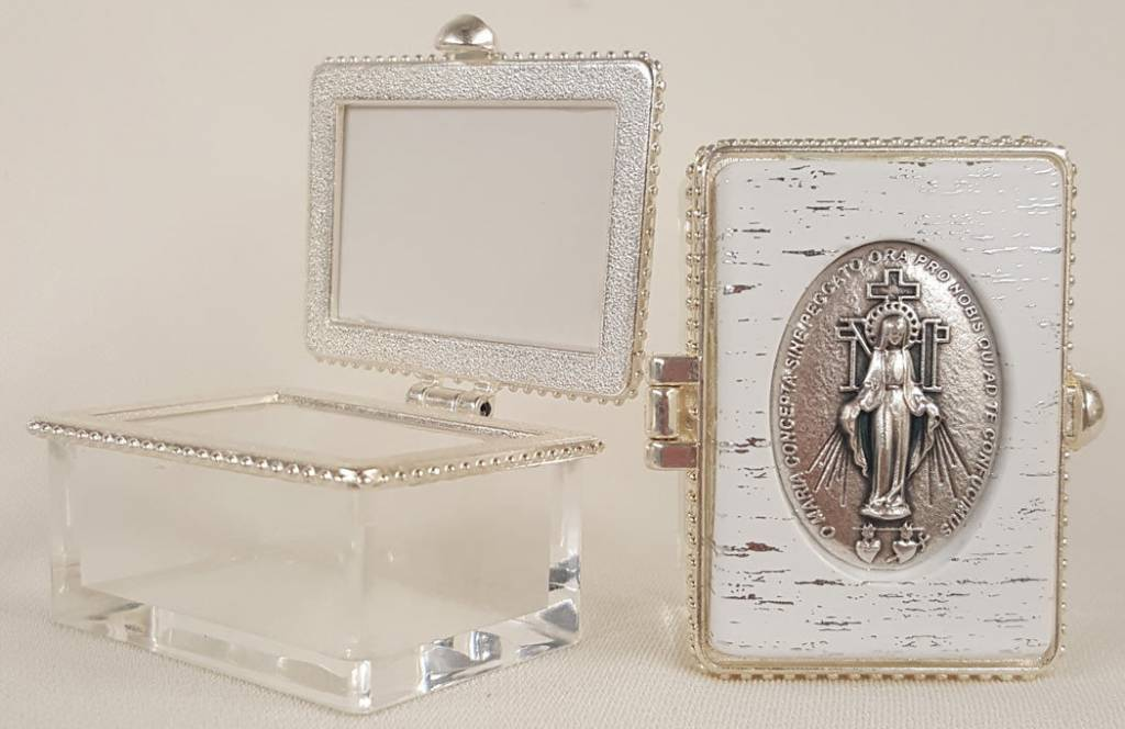 "Goldscheider of Vienna Miraculous Medal Rosary Jewelry Rectangular Clear Box 1.5"" x 2"""