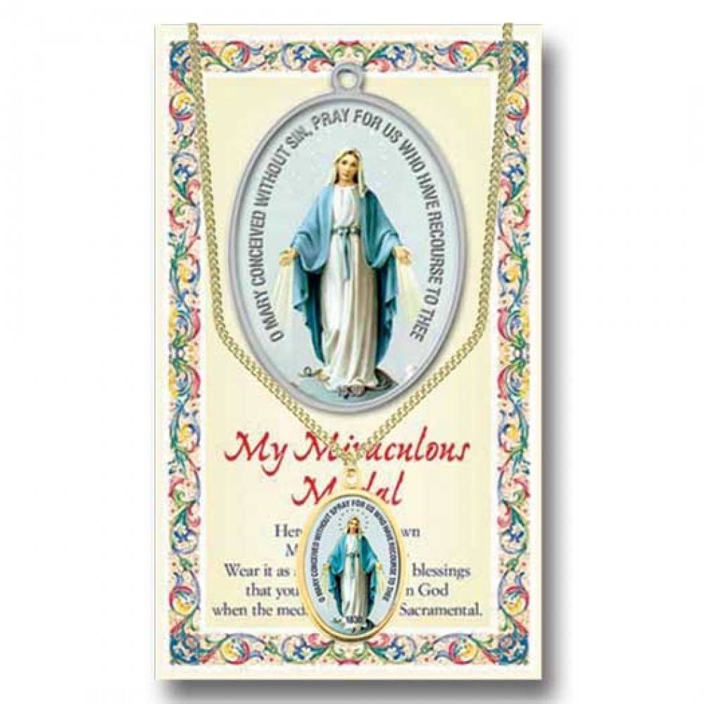 Colored Miraculous Medal with Prayer Card 7/8