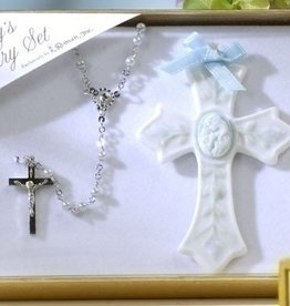 2 Piece Set Baby Boy Rosary and Cross