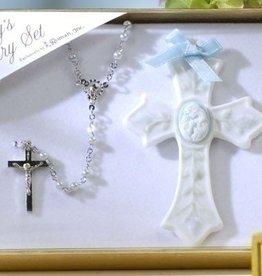 Roman, Inc 2 Piece Set Baby Boy Rosary and Cross