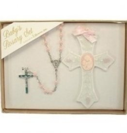 2 Piece Set Baby girl Rosary and Cross